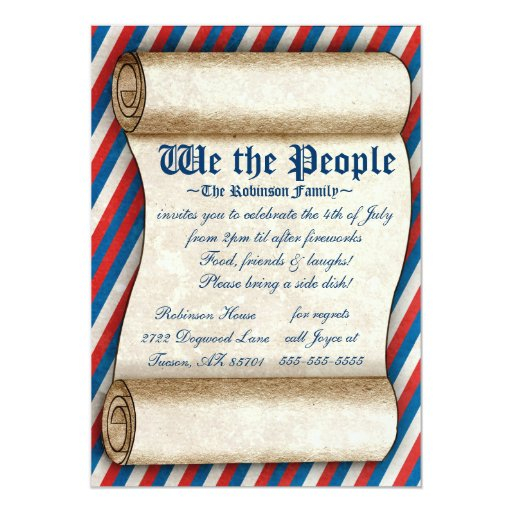 We the People 4th of July Party Invitations