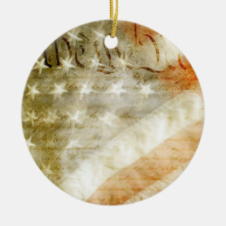 We the People American Flag Ceramic Ornament