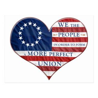 We The People American Flag Heart Postcard