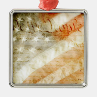We the People American Flag Metal Ornament