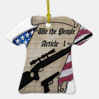 ( We The People ) Article 1 2nd Amendment Guns and Double-Sided T-Shirt Ceramic Christmas Ornament