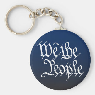 We The People Basic Round Button Keychain