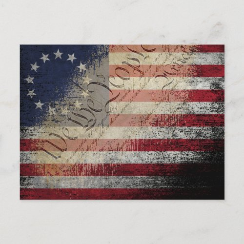 WE THE PEOPLE BETSY ROSS VINTAGE AMERICAN FLAG POSTCARD