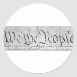 We The People Black n White Classic Round Sticker