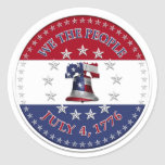 We The People July 4 1776 Bell with 13 & 50 Stars Classic Round Sticker