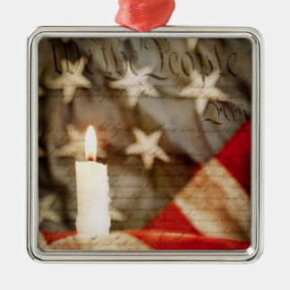 We the People Memorial Candle Metal Ornament