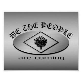 We the People Metallic Shield Logo with Torch Poster