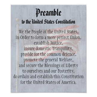 We the People, Preamble US Constitution Classroom Poster