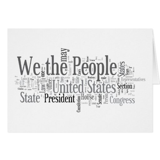 We the People - US Constitution words libertarian Card
