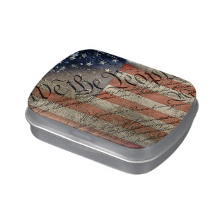 We The People Vintage American Flag Jelly Belly Tin