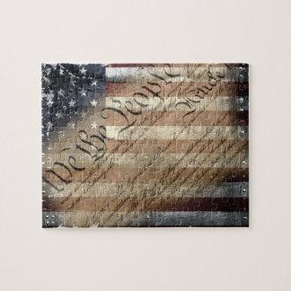 We The People Vintage American Flag Puzzle