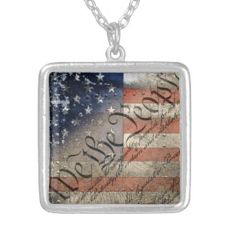 We The People Vintage American Flag Silver Plated Necklace