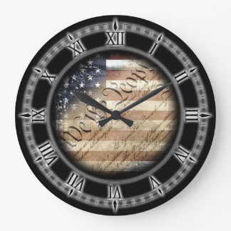 We The People Vintage American Flag Wall Clock