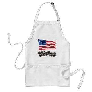 We The People w/Flag (Black). Adult Apron