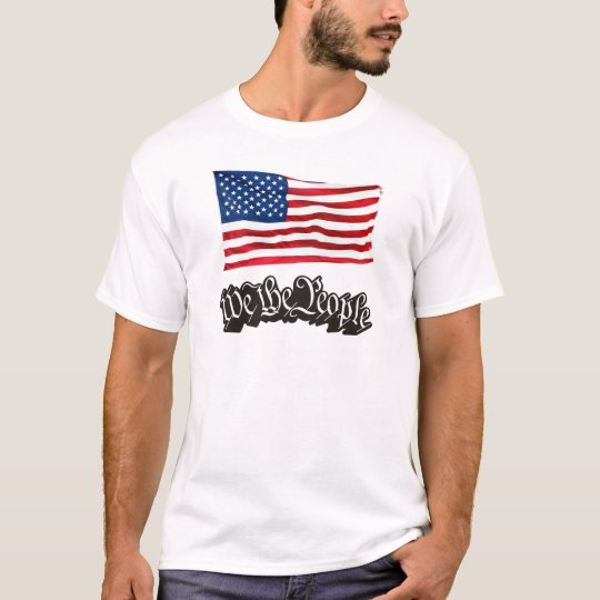 We The People w/Flag (Black). T-Shirt