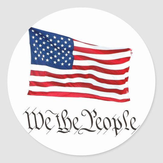 'We The People' w/Flag Classic Round Sticker
