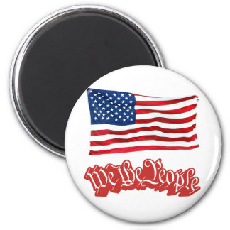 We The People w/Flag (Red). Magnet