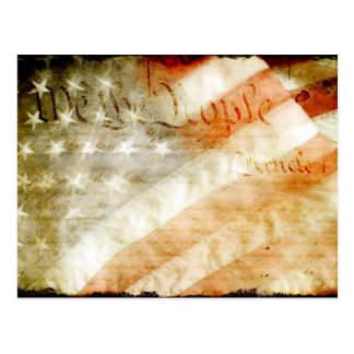 We The People with American Flag Postcard
