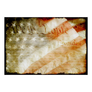 We The People with American Flag Poster