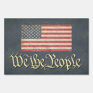 We the People with US Flag Yard Sign