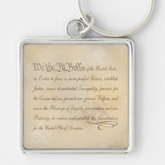 We the Pit Bulls... Silver-Colored Square Keychain
