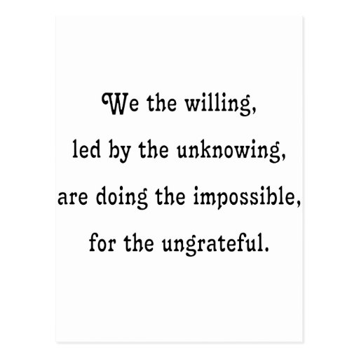 We the Willing Post Card