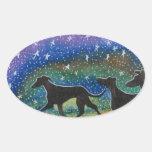 We three greyhound dogs oval sticker