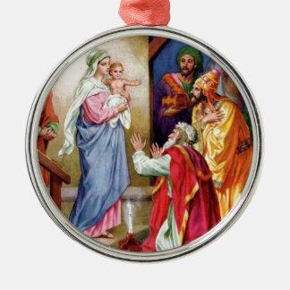 We Three Kings Round Metal Christmas Ornament