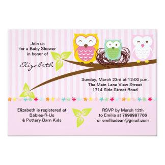 We three owl family pink baby shower invitation