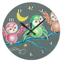 We Three Owls Large Clock