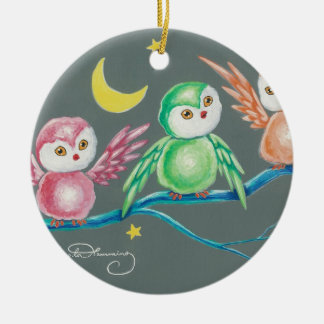 We Three Owls Double-Sided Ceramic Round Christmas Ornament
