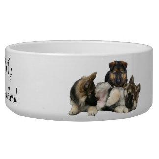 We Three Rascals ,puppy German Shepherds Dog Bowl