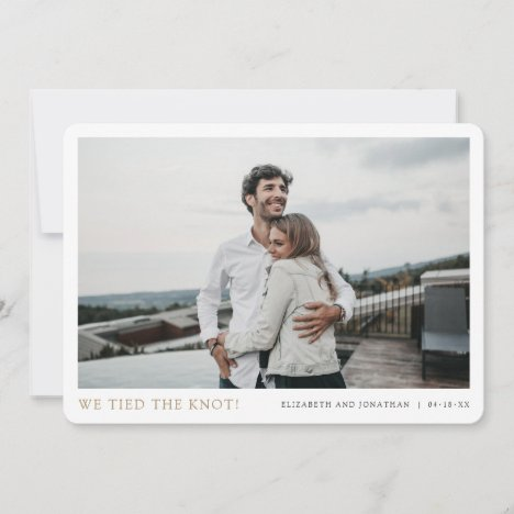 We Tied the Knot! Modern  Photo Elopement Wedding Announcement