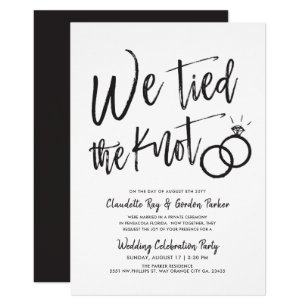We Tied The Knot Post Wedding Party Invitation