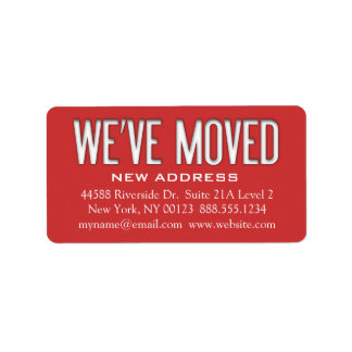 We ve Moved Address Change Notification Label