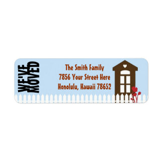We ve Moved Address Labels House and Picket Fence
