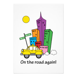 We ve Moved Cityscape Yellow 5x7 Card Personalized Invitations