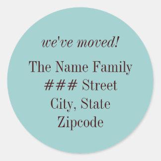 we ve moved family return address label round sticker