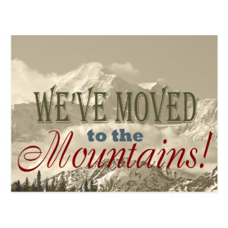 We've Moved to Mountains!  Typography Address Chg Post Cards
