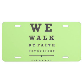 We Walk By Faith Not By Sight Quote Bible Verse License Plate