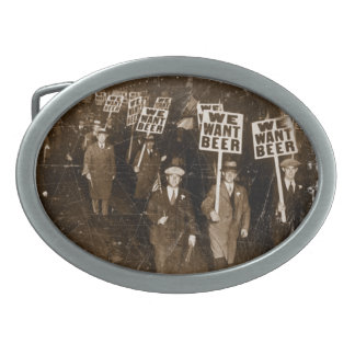 We Want Beer - Prohibition Photo Oval Belt Buckle