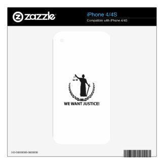 We Want Justice Skin For iPhone 4S