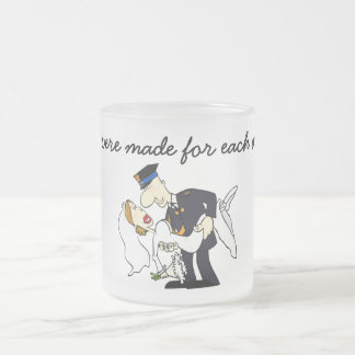 We were made for each other 10 oz frosted glass coffee mug