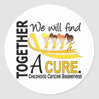 We Will Find A Cure Childhood Cancer Classic Round Sticker
