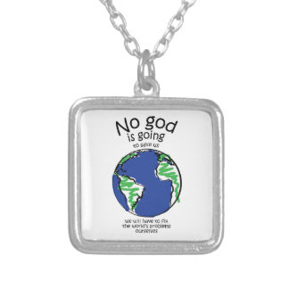 We will have to fix the world's problems ourselves square pendant necklace