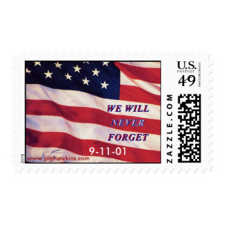 WE WILL NEVER FORGET 9-11-01 POSTAGE STAMP