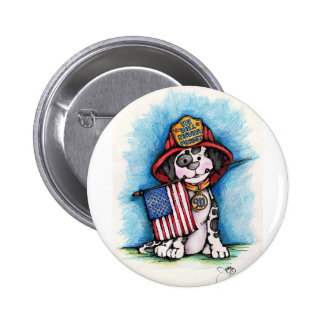 We Will Never Forget 9/11 Firefighter Dalmatian Pinback Button