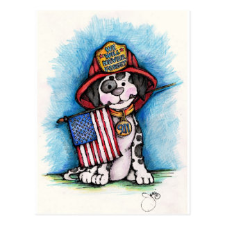 We Will Never Forget 9/11 Firefighter Dalmatian Post Card
