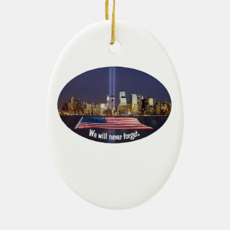 We Will Never Forget 9-11 Tribute Christmas Ornament