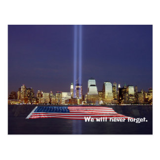 We Will Never Forget 9-11 Tribute Postcard